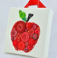 Button Art, Painted With Buttons  Red Apple - Button Art, Vintage Buttons by PaintedWithButtons, $40.00