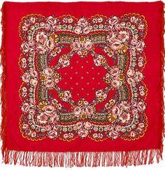 Russian Pavlovsky Posad shawl Red