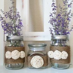Jute Wrapped Mason Jars and candy jar Set of 3. $19.00, via Etsy.