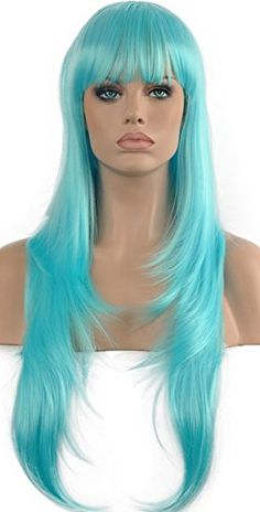 Diy-Wig Blue Long Straight Wig Neat Bangs Cosplay Party S…