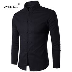 Men Shirt Cotton Chinese Tradition Style 2017 New Arrival Male Solid Color Mandarin Collar Business Long Sleeve Casual Shirt