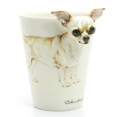 Cream Chihuahua Short Hair Dog Lover Ceramic Handmade Mug 00031
