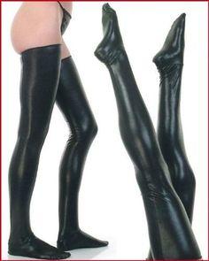 Black PVC Wetlook Vinyl Stockings Burlesque Goth Fetish Pin Up | eBay