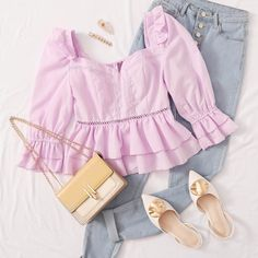 To find out about the Ruffle Trim Layered Lace Inset Peplum Top at SHEIN, part of our latest Blouses ready to shop online today! Kpop Fashion Outfits, Girls Fashion Clothes, Mode Outfits, Girly Outfits, Cute Casual Outfits, Cute Fashion, Look Fashion, Pretty Outfits, Stylish Outfits