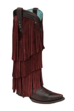 Corral Boots Women's Sierra Black Cherry Tall Fringe Cowgirl Boots |Corral Boots
