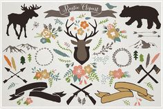 Rustic Mountain Lodge Clipart - rustic wedding, woodland clipart, rustic floral illustrations, commercial use, bear moose antler clipart by LemonadePixel on Etsy Illustration Blume, Winter Illustration, Nature Vector, Woodland Theme, Rustic Invitations, Invites, Floral Illustrations, Antlers, Clipart