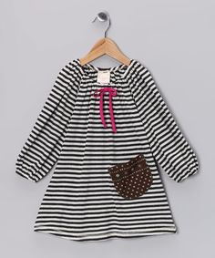 Take a look at this Black & White Stripe Shift Dress - Toddler & Girls by Buckleberry Kids on #zulily today!