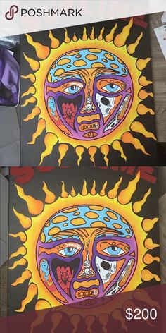 Sublime Canvas large acrylic painting of sublime sun of canvas Urban Outfitters Other Hippie Painting, Sun Painting, Trippy Painting, Hippie Wallpaper, Trippy Wallpaper, Cute Canvas Paintings, Small Canvas Art, Painting Inspiration, Art Inspo