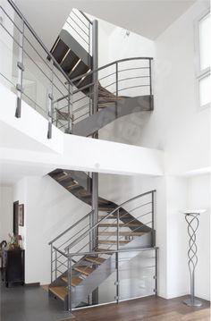 DT71 - SPIR'DÉCO® D'Angle Mixte Droit, formant escalier 2 Quartiers Tournants. Escalier métal et bois d'intérieur au design contemporain.