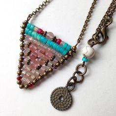 Chevron Beaded Necklace, Native American Style, triangle pendant, turquoise beads, red garnets, brass, New Boho Jewelry, Earthy Jewelry Gift by www.MeyerClarkCreative.etsy.com