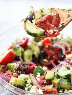 Greek Salad with Avocado   foodiecrush.com