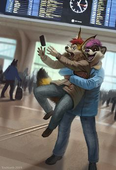 """""""A commission of a small Caracal being greeted by his friend Tay as he arrives at Oslo Station~ Lots of joy making this one! Anime Furry, Anime Wolf, Animal Drawings, Cute Drawings, Furry Drawing, Anthro Furry, Anime Characters, Wolves, Turtles"""