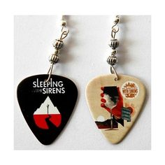 Sleeping With Sirens Guitar Pick Earrings Two Sided found on Polyvore