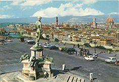 Panorama of Pizazzale Michelangelo, Florence, 1970's scanned postcard