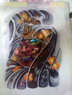 Hand Drawn Tattoo design of a Samurai helmet with his mask.