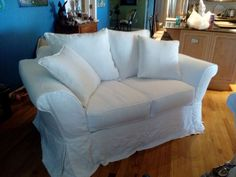 """White Linen Loveseat Slipcover by """"Chici's Cottage Style"""", Winter Park, FL"""