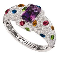Clash bracelet in 18-karat white gold with white diamonds, amethyst and other semiprecious gems by Valente Milano