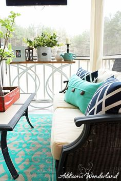 Tips for creating a functional, fun and inviting porch or patio.  Also, ideas for adding pops of color and Spring accents to any outdoor entertaining area.