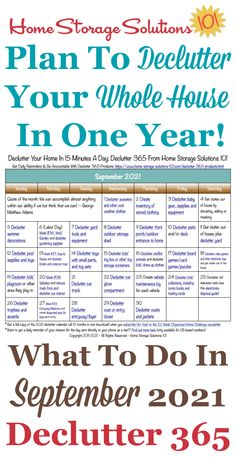 Free printable September 2021 #decluttering calendar with daily 15 minute missions. Follow the entire #Declutter365 plan provided by Home Storage Solutions 101 to #declutter your whole house in a year. Deep Cleaning Tips, House Cleaning Tips, Spring Cleaning, Cleaning Hacks, Cleaning Schedules, Daily Cleaning, All You Need Is, Need To Know, Home Storage Solutions