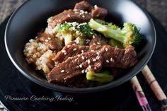Pressure Cooker Beef and Broccoli - Cooking inexpensive beef chuck in the pressure cooker tenderizes the meat, so it's not tough and chewy like stir fried beef and broccoli can often be.