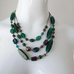 Vintage 1970's  Triple Strand Green & Blue Glass Beaded Necklace by VintageBlackCatz on Etsy