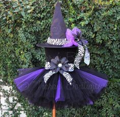 """Tutu Witch Costume - Willow, the Wild Witch - Black, Purple, and Zebra Sewn 10"""" Tutu & Witch Hat - sizes Newborn to 5T - Wings Not Included. $64.00, via Etsy."""