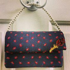 Enviroclectic Designs Clutch Purse Handbag Removable necklace/handle Vintage broach of roses.