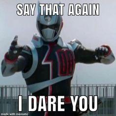 Power Rangers Memes, Power Rangers Spd, Green Ranger, Meme Stickers, I Dare You, Say That Again, Martial Arts, Captain America, Tv Shows