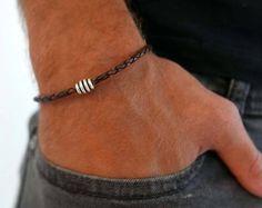 Men Bracelet - Men Feather Bracelet - Men Leather Bracelet - Men Jewelry - Men Gift - Boyfriend Gift - Husband Gift - Present For Men - Male Celtic Bracelet, Bracelet Set, Bracelets For Men, Beaded Bracelets, Leather Bracelets, Presents For Men, Mens Silver Rings, Boyfriend Gifts, Etsy