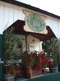 Dry Creek General Store in Healdsburg, California. Local wines, produce from local farms, gourmet deli, old-fashioned bar, and outdoor summer bbq's.