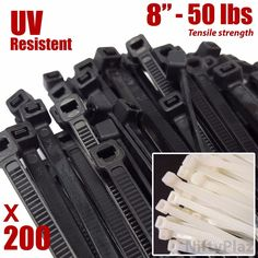 Check out 8 Inch #Cable #Ties - 200 #Pack - #UV #Weather #Resistant - 50 #LBS #Nylon #Wrap #Zip_Ties   #Generic