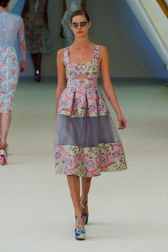 Erdem Spring 2013 not a fan of the print but like the idea of the sheer middle. Again classic meets super mod