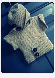 Little Garter Baby Sweater and Hat Free Knitting Pattern | Free Baby and Toddler Sweater Knitting Patterns including cardigans, pullovers, jackets and more http://intheloopknitting.com/free-baby-and-child-sweater-knitting-patterns/