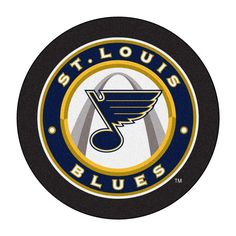 For all those hockey fans out there: puck-shaped area rugs by FANMATS. nylon carpet and non-skid Duragon® latex backing. St Louis Blues, Blues Nhl, Blue Game, Baseball Gear, Star Wars, Nylon Carpet, Hockey Puck, Round Area Rugs, Area Rug Sizes
