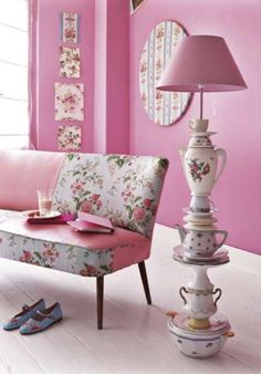 About five million degrees of whimsically sweet cuteness going on here! #pink #shabbychic #decor #livingroom #lamp #DIY #creative #pink