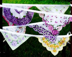 Love this idea!  Been looking for the just right bunting design and i think this is it!  <3 Dishfunctional Designs: Vintage Handkerchiefs & Scarves Upcycled and Repurposed