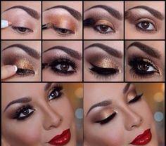 Labios rojos, encuentra este y otros maquillaje en tonos dorados aquí...http://www.1001consejos.com/maquillaje-en-tonos-dorados/