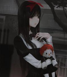 Anime Girl | Manga Girl | Gloomy | Black Anime Girl | Beautiful | Pretty | Gorgeous | Cute | Waifu | Dark |  Emo | Goth |