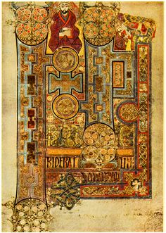 Page of Illuminated manuscript from the Book of Kells.