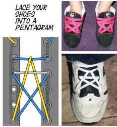 How to lace your shoes into a Pentagram.