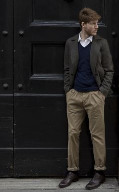 Men's business causal - relaxed khakis and a gray blazer.