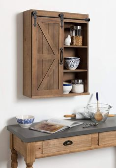 Kate and Laurel Cates Wood Wall Storage Cabinet with Sliding Barn Door, Rustic Brown Refacing Kitchen Cabinets, Wall Mounted Cabinet, Wood Cabinets, Wall Mounted Bathroom Cabinets, Wood Wall, Barn Door, Wood Decor, Wall Storage, Wall Storage Cabinets