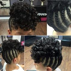 braided updo with a curly top for black hair: