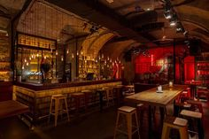 roy zsidai transforms ruin pub in budapest into spiler shanghai bistro Cafe Bar, Pub Bar, Pub Design, Restaurant Design, Restaurant Bar, Booth Design, Floor Design, Bar Interior, Bodega Bar