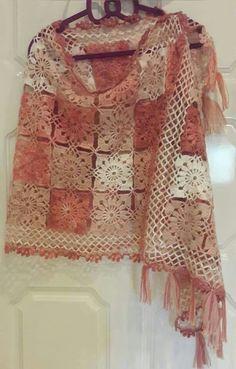 Crochet Poncho, Hand Crochet, Crochet Hats, Gold Sequin Fabric, Gold Sequins, White Linen Dresses, Crochet Square Patterns, Lace Tunic, Patchwork Dress