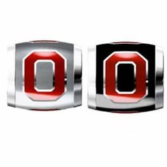 """Teagan Collegiate Collection Bead: Ohio State University Combo set. This bundle contains two Ohio State University Beads:     OSU1 Red O on Gray Bead     OSU3 Red O on Black Bead  Beads are 925 Silver and Enamel. These are """"Teagan"""" beads and they are compatible with Pandora, Biagi, Zable, Brighton, Troll and many other European style bracelets."""