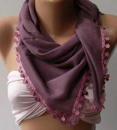 Lilac Shawl with Lace  Turkish Shawl  Anatolians Scarf  by womann