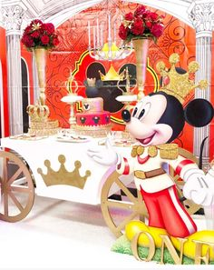 "Mickey Mouse Royal King / Birthday ""Kevin's Castle birthday party"" Mickey Mouse Theme Party, Mickey First Birthday, Mickey 1st Birthdays, Fiesta Mickey Mouse, Prince Birthday Party, Boys 1st Birthday Party Ideas, King Birthday, Birthday Party Decorations, Miki Mouse"