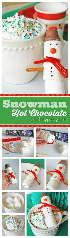 Marshmallow Snowman Hot Chocolate! Great food craft activity to make with your kids and perfect for a winter party or playdate! | CatchMyParty.com