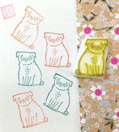 DORKY PUG DOG - Hand Carved Rubber Stamp by KeiWorkshop on Etsy https://www.etsy.com/listing/256386253/dorky-pug-dog-hand-carved-rubber-stamp